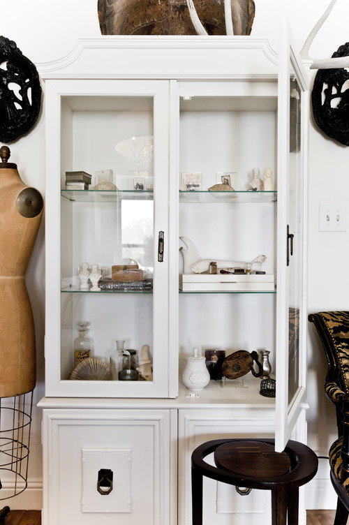 eclectic bedroom Curio Cabinets Display Decorative Items