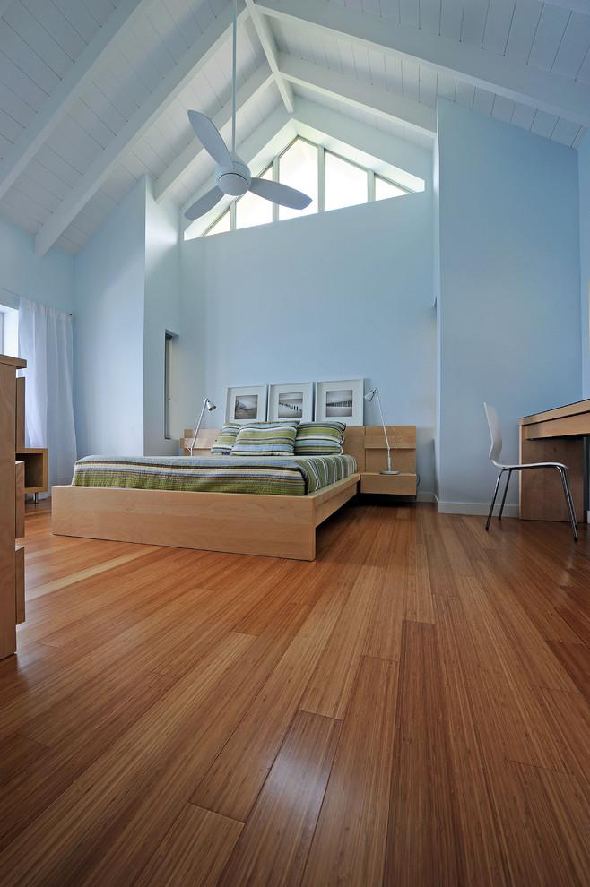 Bedroom - contemporary bamboo floor and brown floor bedroom idea in Miami with blue walls