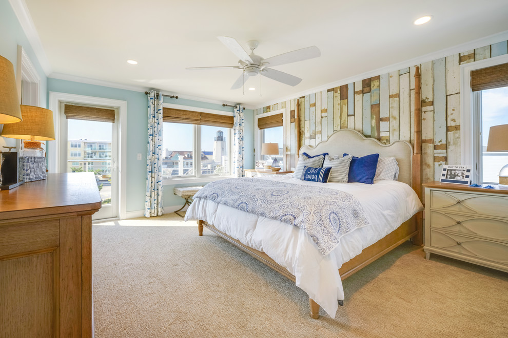 Example of a beach style bedroom design in Other