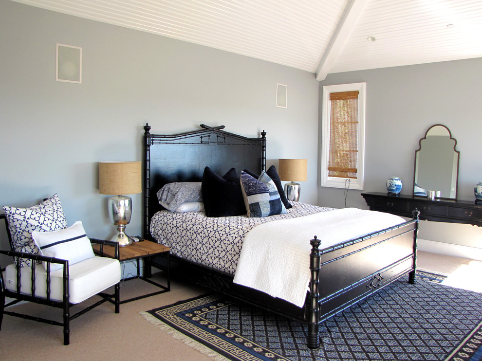 Inspiration for a victorian carpeted bedroom remodel in Orange County with gray walls and no fireplace