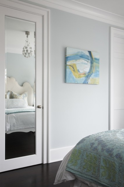 The Serenity Of A Blue Painting Transitional Bedroom