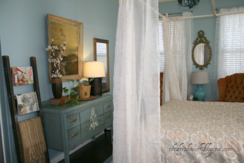 Thrifty Guest Room and Stenciled Floor eclectic-bedroom