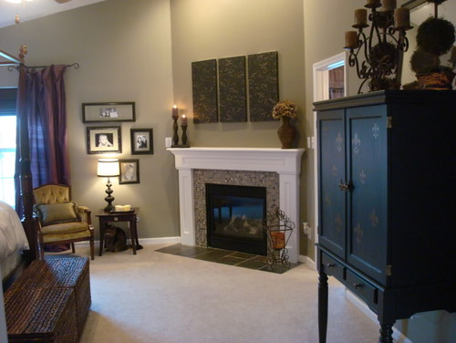 What is the name of the mosaic tile around the fireplace?