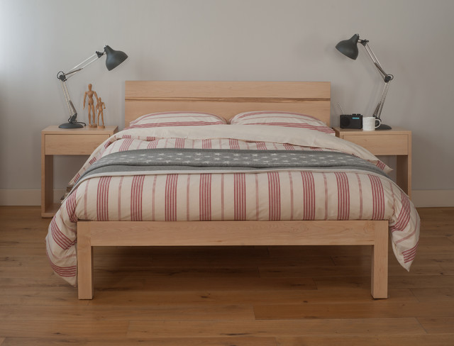 Tibet bed in solid maple with zebrano wood detail - Contemporary maple bedroom furniture ...