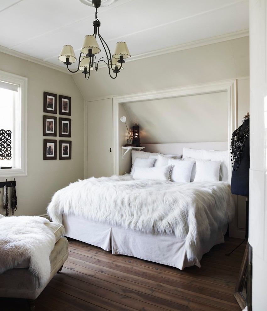 Inspiration for a mid-sized timeless master dark wood floor bedroom remodel in Stockholm with gray walls and no fireplace