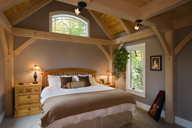 Timber Frame Contemporary Bedroom New York By