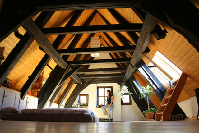 Timber Trusses eclectic-bedroom