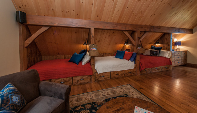 Timberframe Lake House Bunk Room Rustic Bedroom Manchester Nh