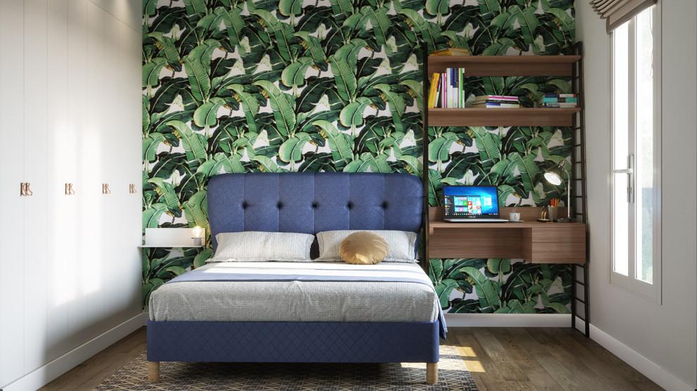 Bedroom - small contemporary master light wood floor and brown floor bedroom idea in Paris with green walls