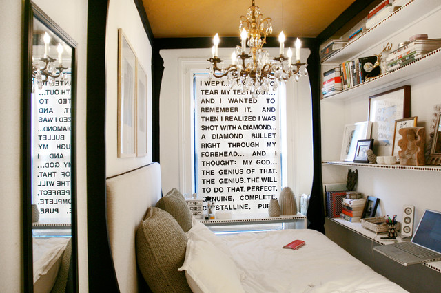 inspiration for a small shabby chic style bedroom remodel in new york with white walls - Tiny Bedroom