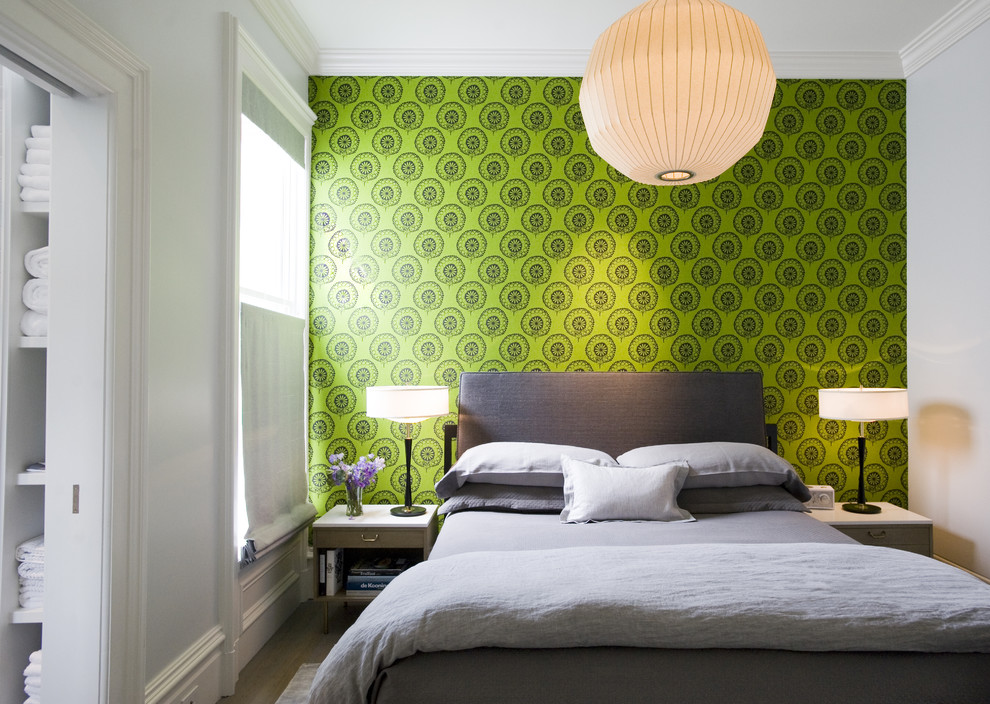 Inspiration for a modern bedroom in San Francisco with multi-coloured walls.