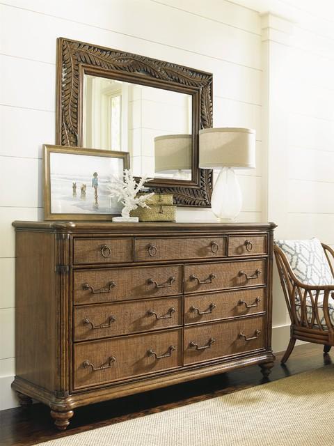 Tommy Bahama Home Bali Hai Costa Sera Triple Dresser And Mirror Set Tropical Bedroom