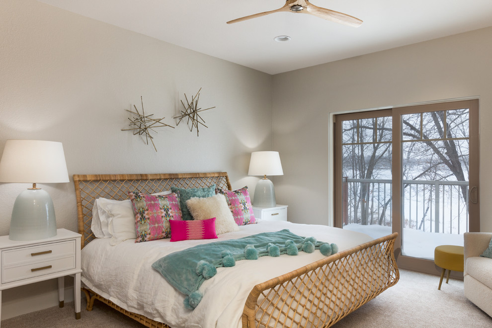 Transitional carpeted and gray floor bedroom photo in Other with gray walls