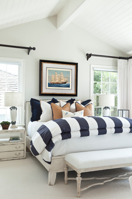 Charmant Bedroom   Large Beach Style Master Carpeted Bedroom Idea In Orange County  With White Walls