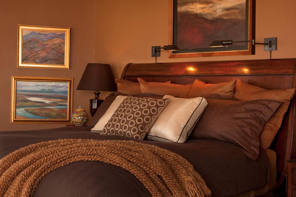 Bedroom - traditional bedroom idea in Portland with brown walls