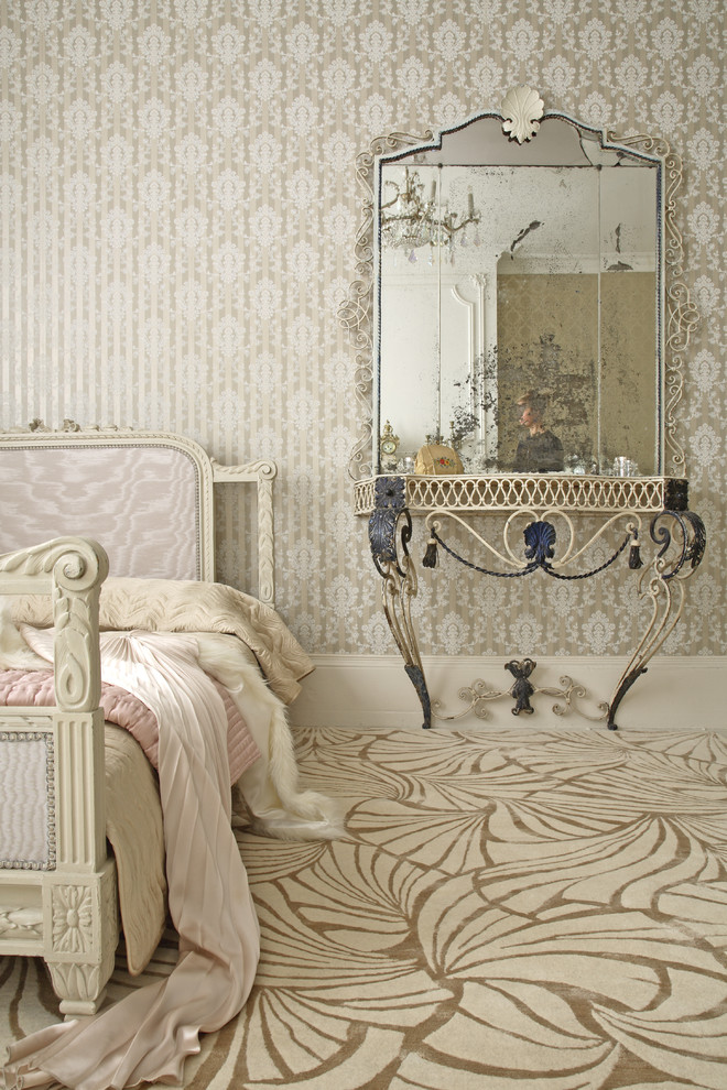 Example of a cottage chic multicolored floor bedroom design in Other