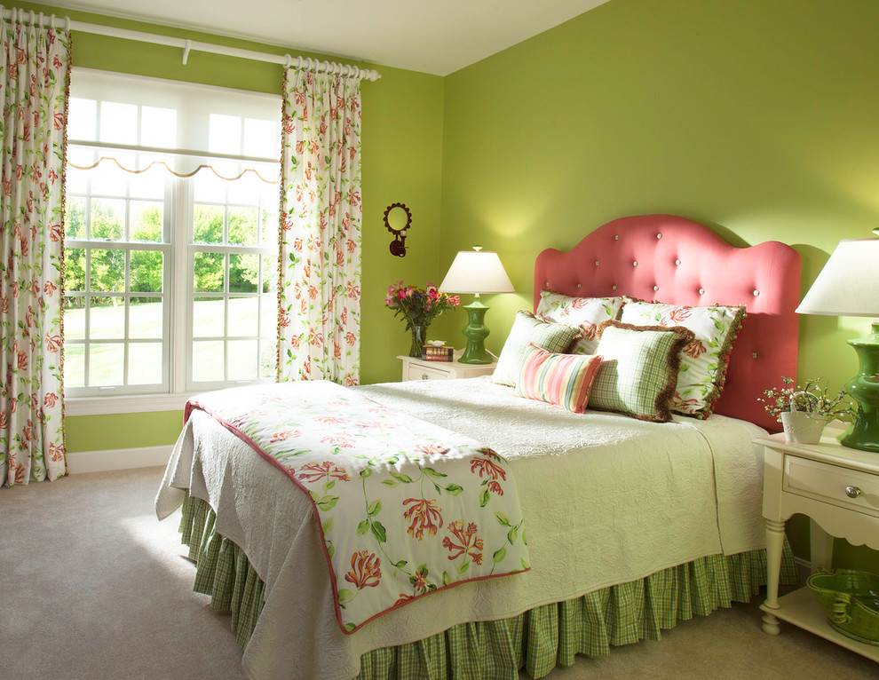 Inspiration for a timeless carpeted bedroom remodel in San Diego with green walls and no fireplace