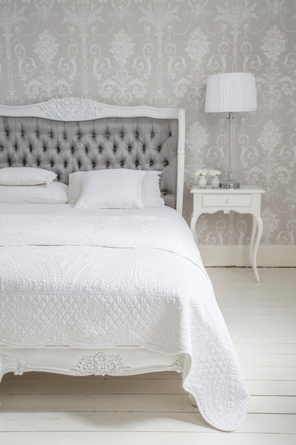 Bergerac Grey Silk Upholstered French Bed Traditional