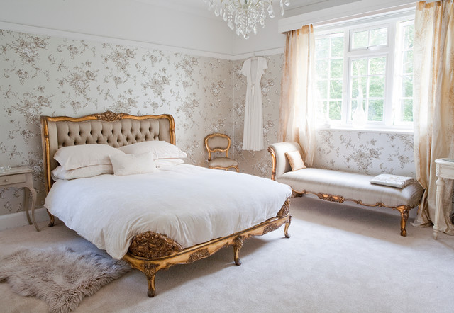 Versailles Luxury Upholstered Bed in silk and shabby chic ...