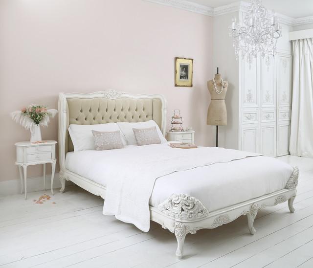 Provencal Upholstered Velvet French Bed Traditional