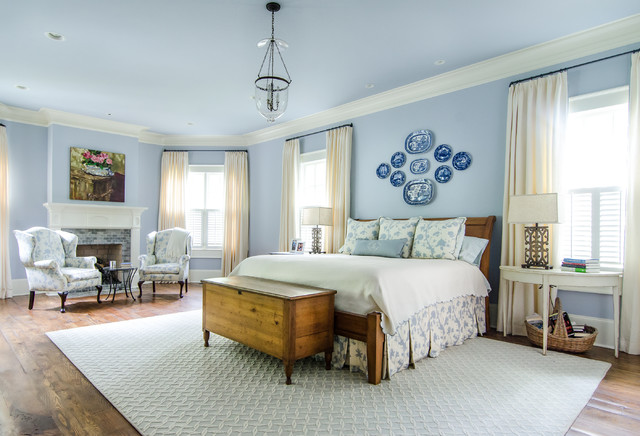 Elegant Bedroom Photo In Atlanta With Blue Walls