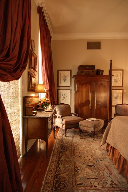 Traditional Bedroom With Antiques And Silk Drapery