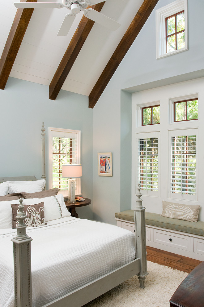 Inspiration for a timeless bedroom remodel in Atlanta with blue walls