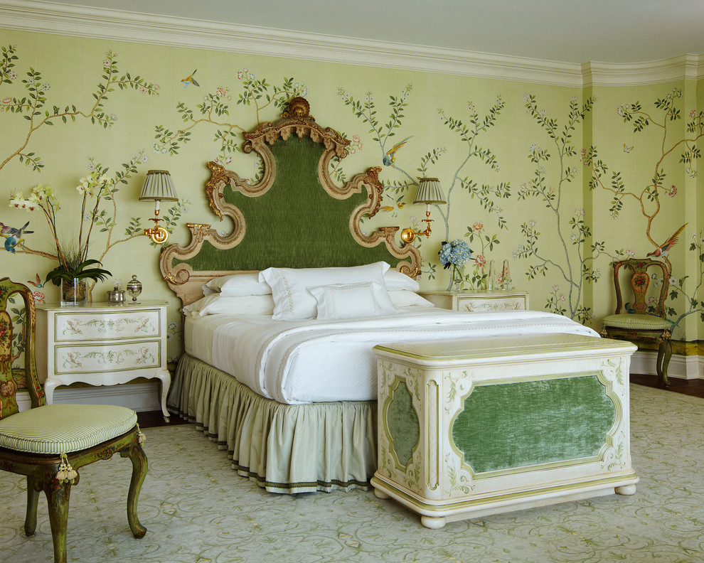 Example of a huge ornate master bedroom design in Miami with multicolored walls