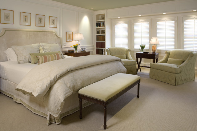 Inspiration For A Timeless Master Carpeted Bedroom Remodel In San Francisco  With White Walls