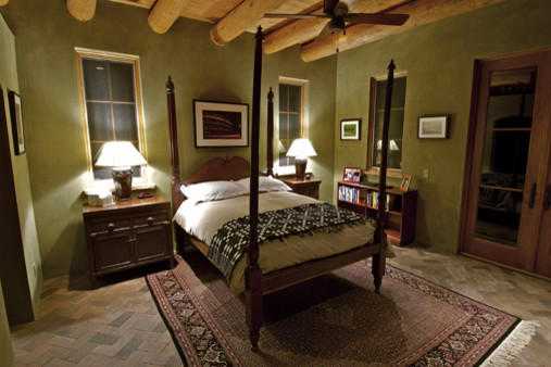 Traditional Santa Fe Style Home Southwestern Bedroom