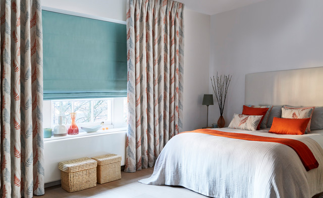 Tranquility Dawn curtains and Tetbury Duck Egg Roman blinds from the Zen collect bedroom