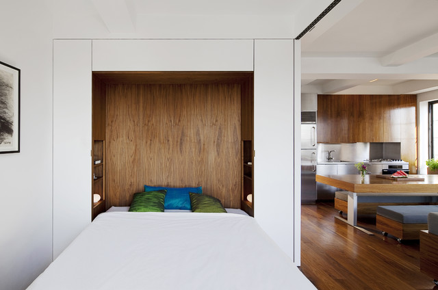 Inspiration For A Modern Bedroom Remodel In New York With White Walls
