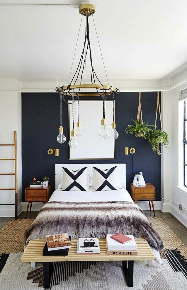 Bedroom - transitional guest gray floor bedroom idea in Houston with white walls
