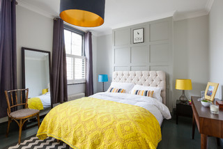 Grey and Yellow Bedroom Ideas and Photos   Houzz