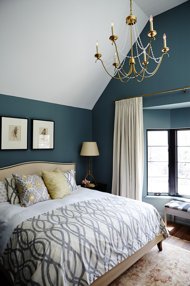 Inspiration for a transitional dark wood floor bedroom remodel in Toronto with blue walls