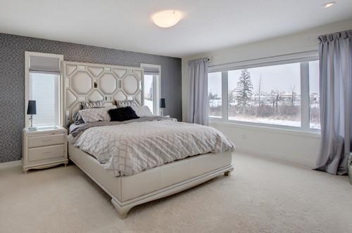 シックな寝室の壁紙施工事例