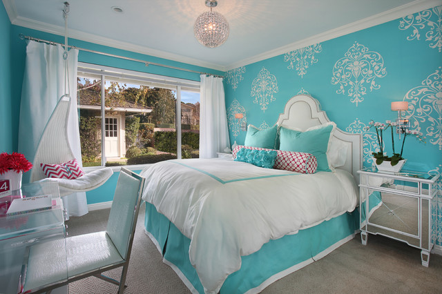 Tiffany blue girl 39 s room transitional bedroom orange for Interior design bedroom blue white