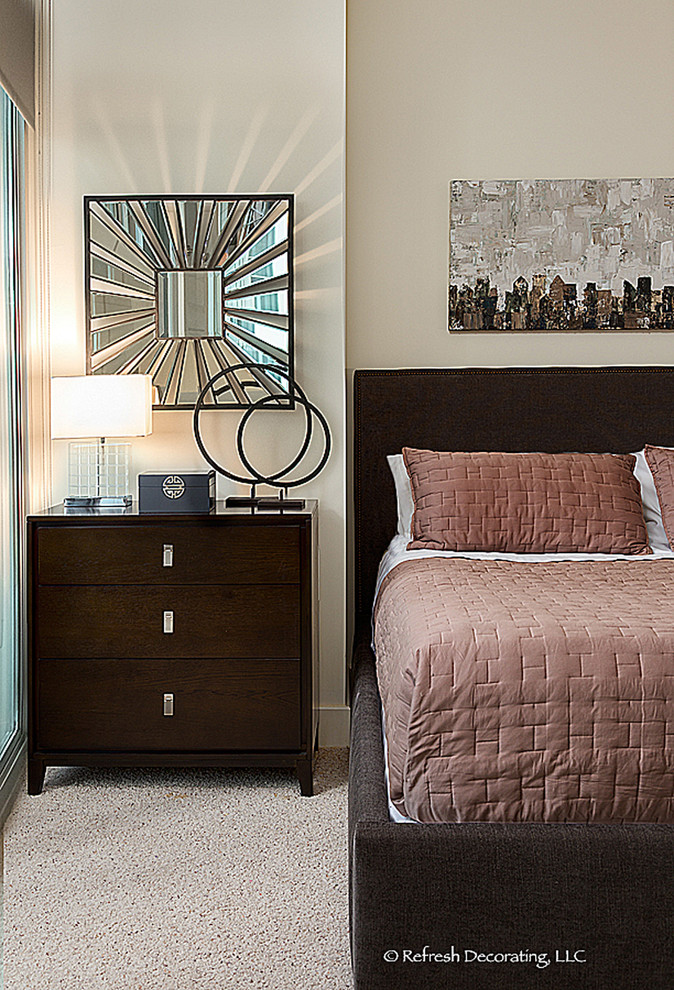 Bedroom - small transitional master carpeted bedroom idea in Atlanta with white walls