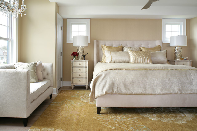 Mid Sized Transitional Guest Bedroom Idea In Other With Beige Walls