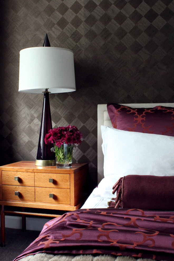 Inspiration for a transitional bedroom remodel in Chicago with brown walls