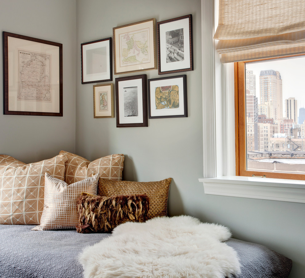 Example of a transitional bedroom design in Chicago