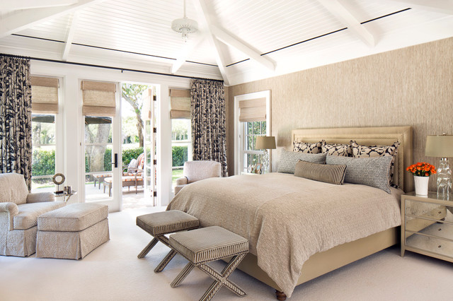 Beau Bedroom   Large Transitional Master Carpeted Bedroom Idea In Miami With  Beige Walls