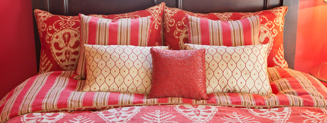 Red and Beige Ikat contemporary-bedroom