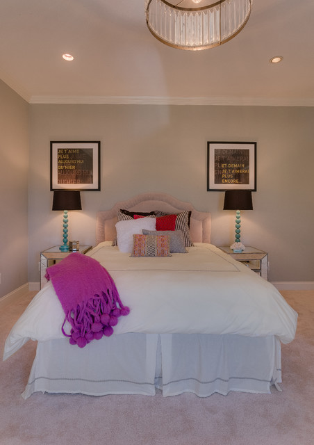 39 bedroom with neutral tones and pops of color transitional bedroom