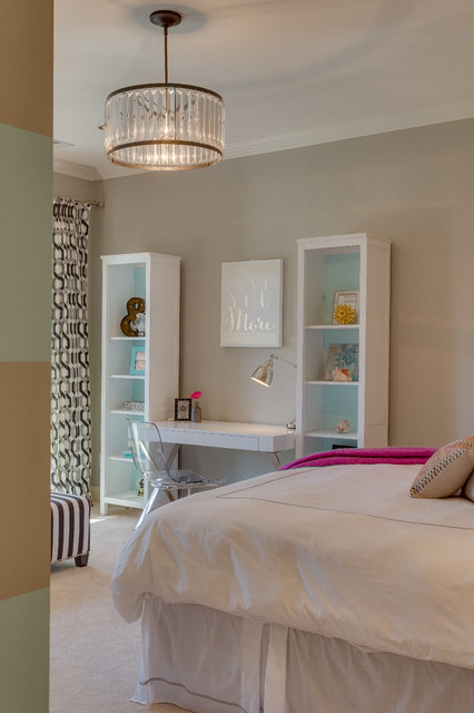 girl bedroom with neutral tones and pops of color transitional bedroom