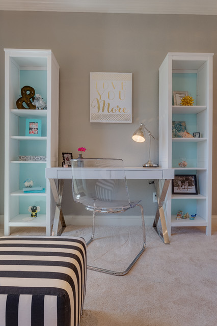 Transitional Girl Bedroom With Neutral Tones And Pops Of