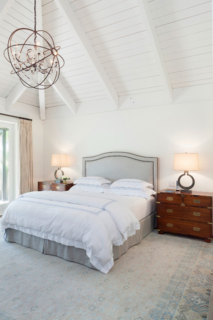 Bedroom - transitional bedroom idea in Miami with white walls