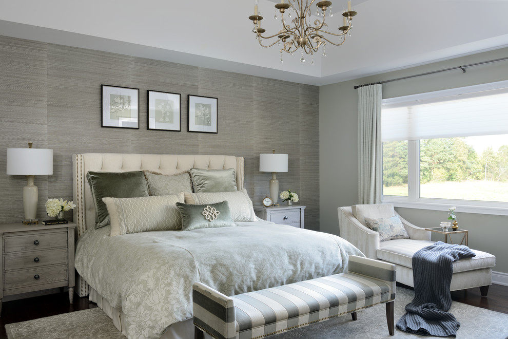 Inspiration for a mid-sized transitional master dark wood floor and brown floor bedroom remodel in Toronto with gray walls and no fireplace