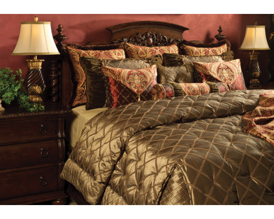 Bedding 2013 - TREASURE: A regal Olive ribbon fabric complimented by a rich, Merlot Chenille brocade. Detailed with shirring and decorative trims. Includes matching throw.