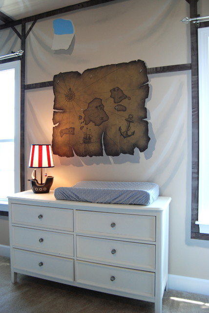 Treasure Island Pirate Mural Themed Boys Bedroom By